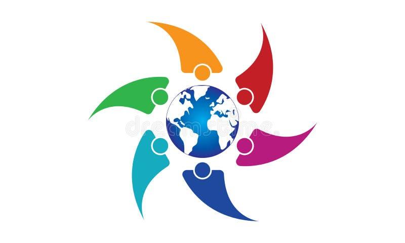 团队工作商标环球-被环绕的地球和团队工作联合人商标模板圆企业队团结的商标 向量例证