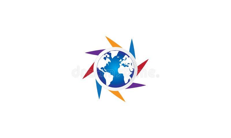 团队工作商标环球-被环绕的地球和团队工作联合人商标模板圆企业队团结的商标 库存例证