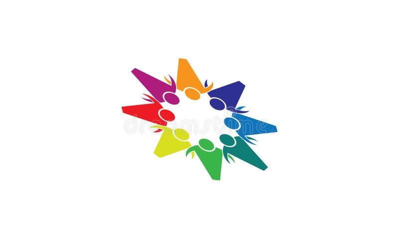 团队工作商标-被环绕的团队工作联合人商标模板圆企业队团结的商标 皇族释放例证