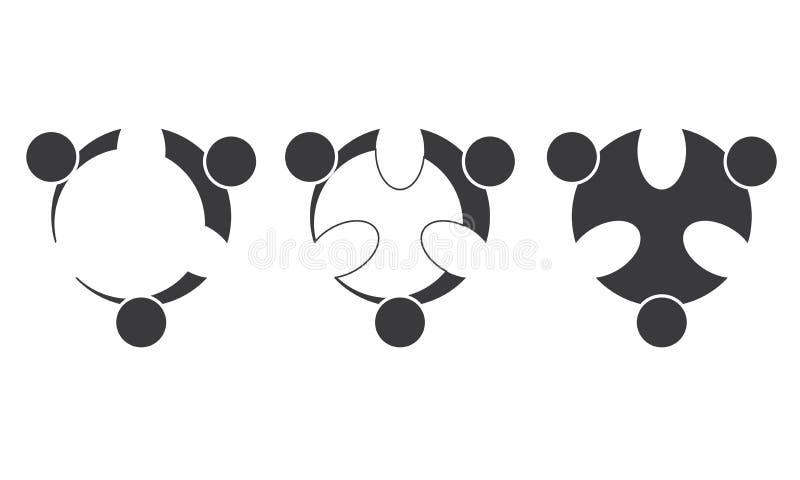 团队工作商标-被环绕的团队工作联合人商标模板圆企业队团结的商标 向量例证