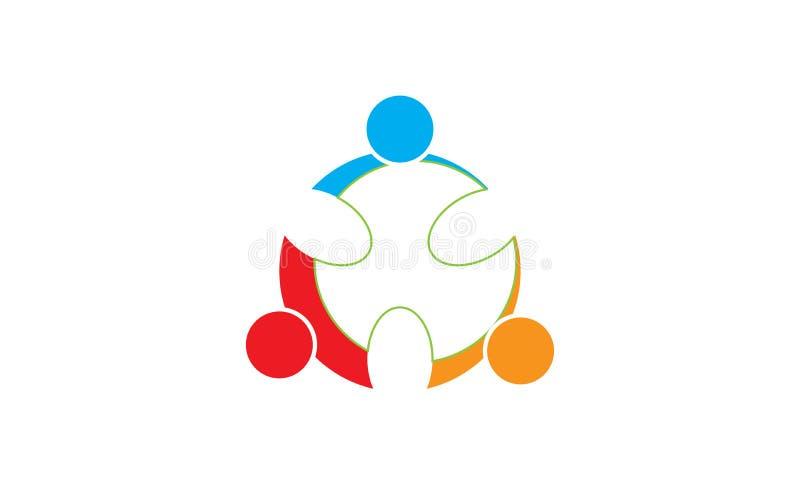 团队工作商标-被环绕的团队工作联合人商标模板圆企业队团结的商标 库存例证
