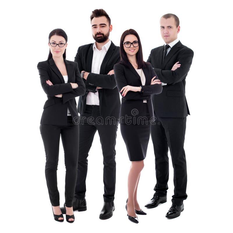 团队工作概念-在白色隔绝的黑衣服的年轻商人 库存图片