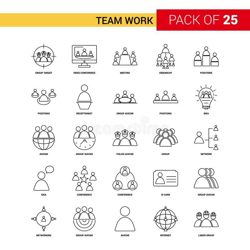 团队工作黑线象- 25企业概述象集合 向量例证