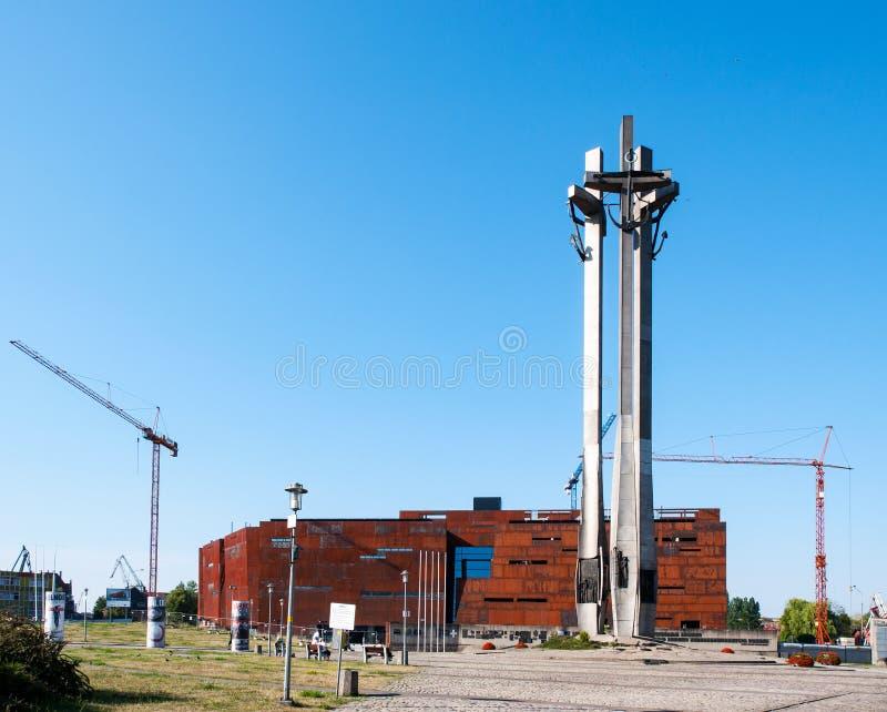 团结中心和纪念碑在格但斯克,波兰 库存照片