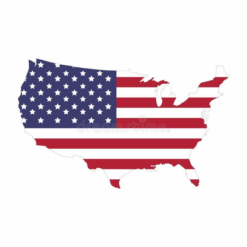 团结的国家地图的美国 库存例证