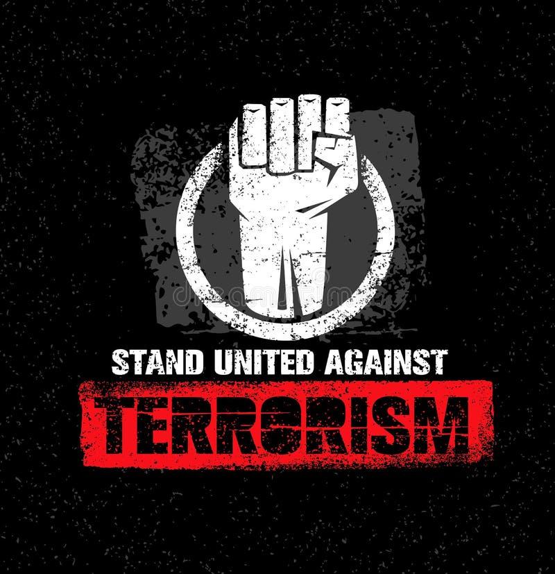 团结的立场反对恐怖主义 在难看的东西背景的创造性的传染媒介设计元素 圈子拳头标志 向量例证