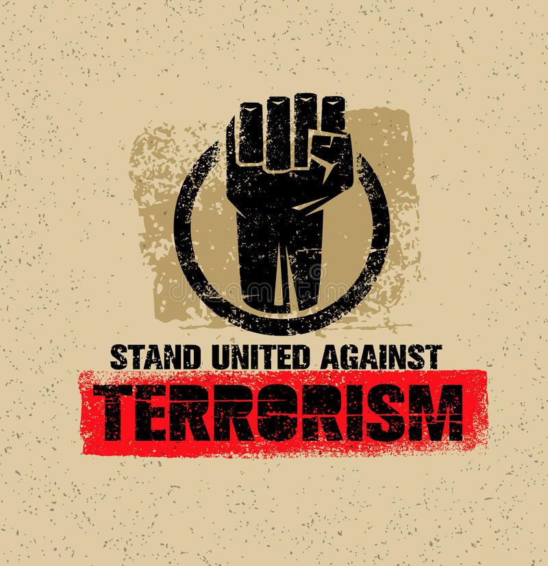 团结的立场反对恐怖主义 在难看的东西背景的创造性的传染媒介设计元素 圈子拳头标志 皇族释放例证