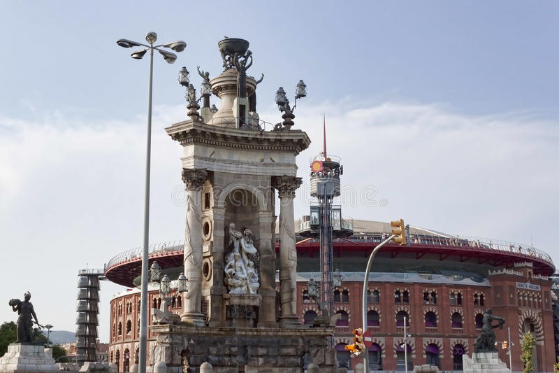 团结的纪念碑在西班牙的正方形的在巴塞罗那 在ba 图库摄影