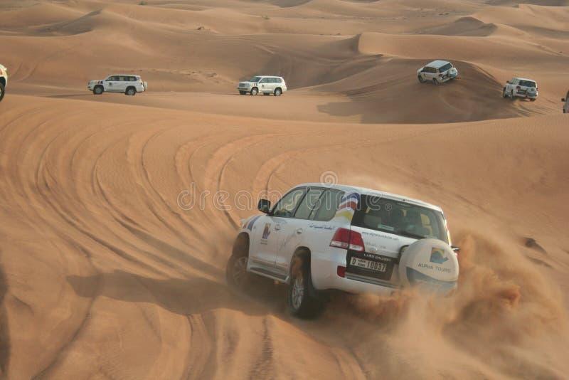 团结的阿拉伯沙漠酋长管辖区徒步旅行队 库存照片