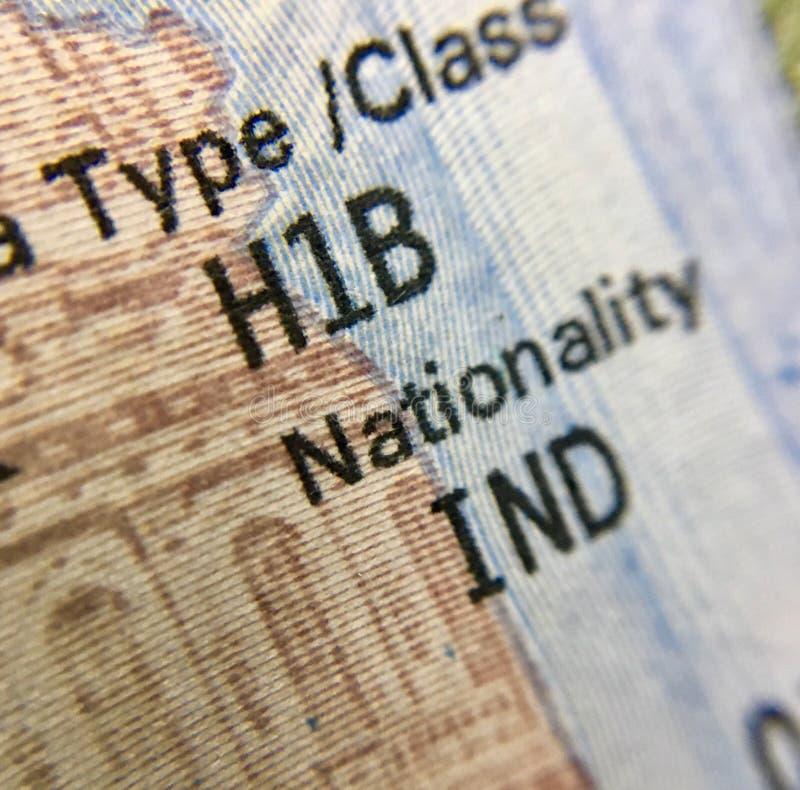 团结美国H1B签证状态印地安人的 库存照片