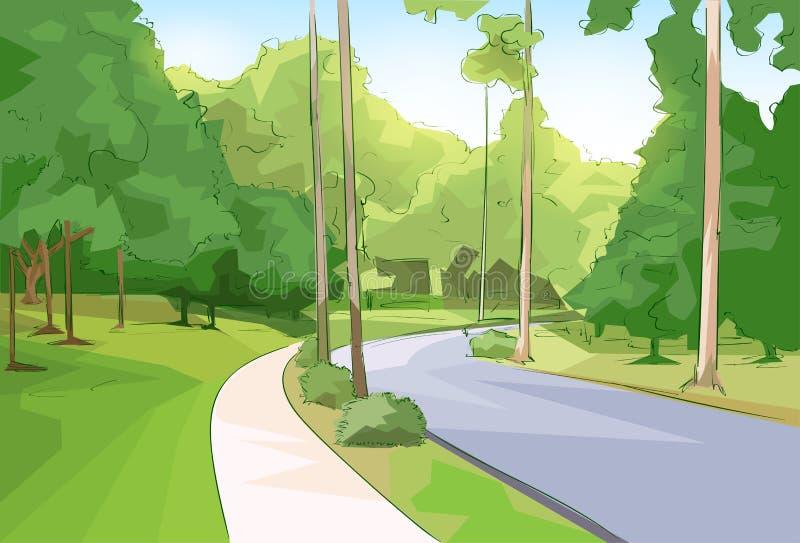 绿园森林公路现代城市传染媒介 库存例证