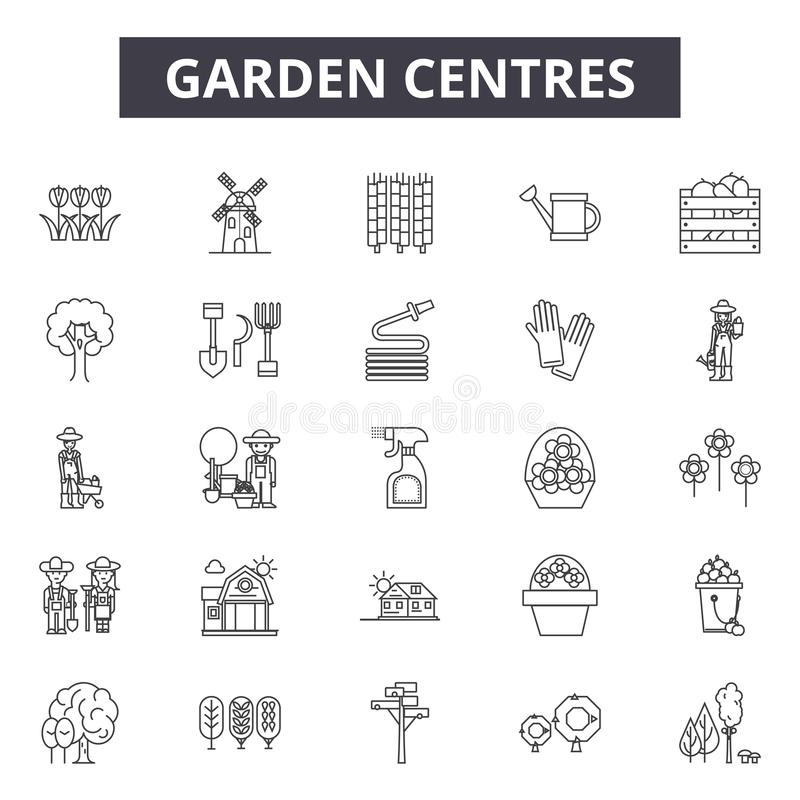 园艺中心排行象,标志,传染媒介集合,概述例证概念 库存例证