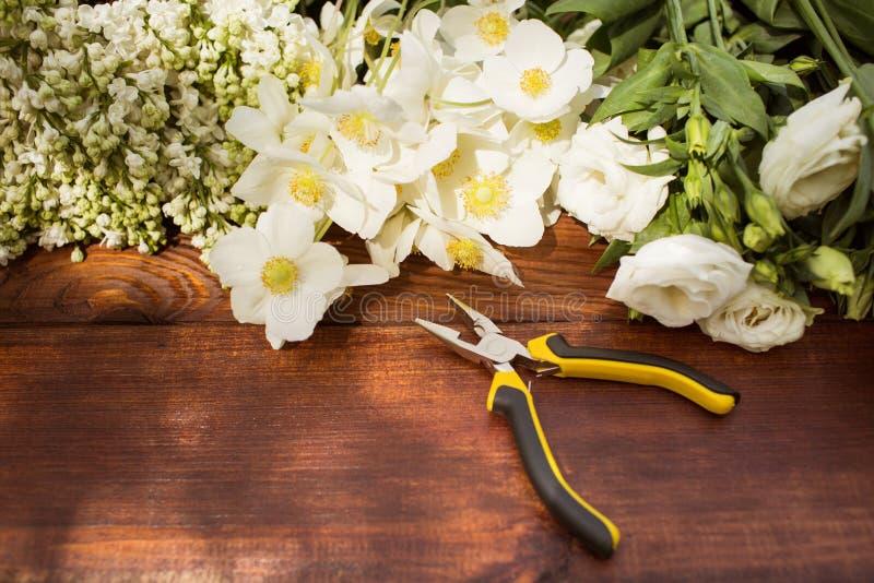 园艺工具、植物和土壤在葡萄酒木桌上 反弹在与大方的本体空间的庭院概念背景中 免版税库存照片