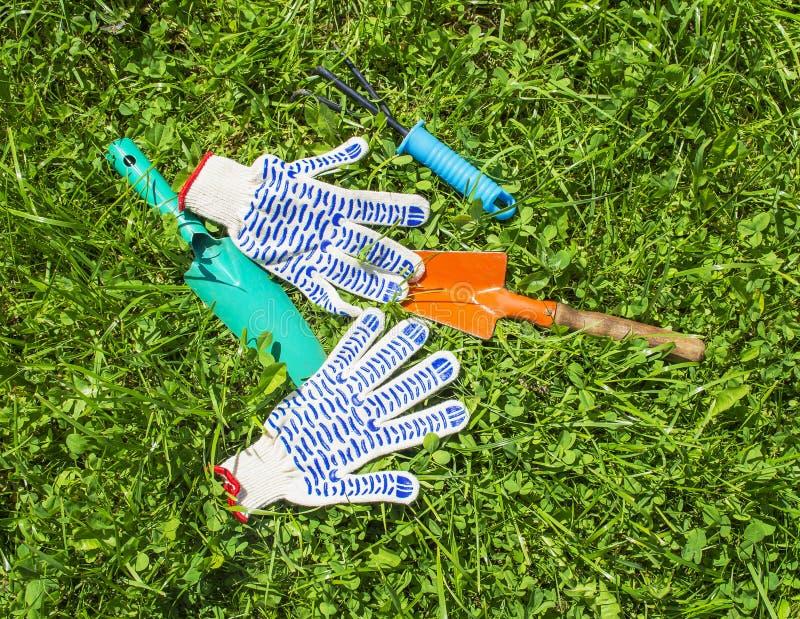 园艺工具和手套在草 免版税库存图片