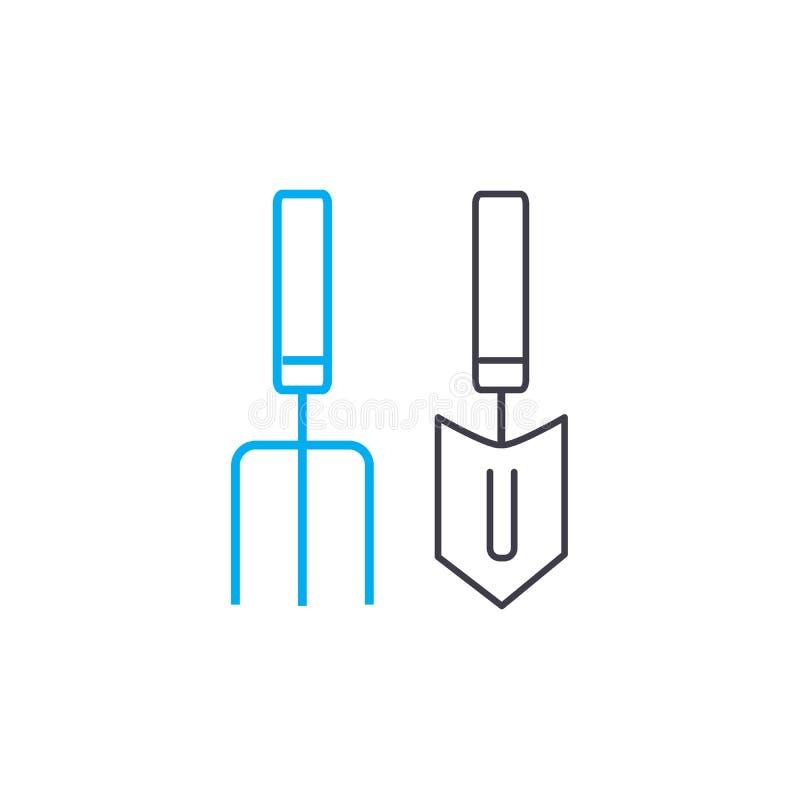 园艺工具线性象概念 园艺工具排行传染媒介标志,标志,例证 皇族释放例证