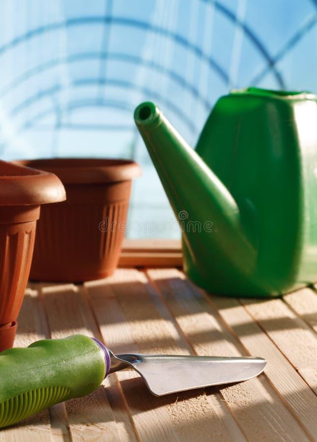 园艺工具自温室 免版税库存照片
