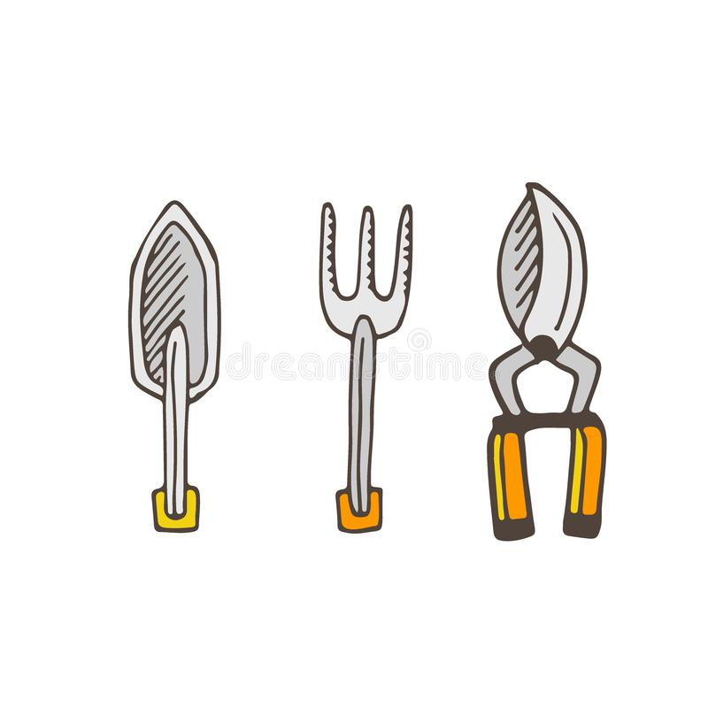 园艺工具象 从事园艺的例证 向量 皇族释放例证