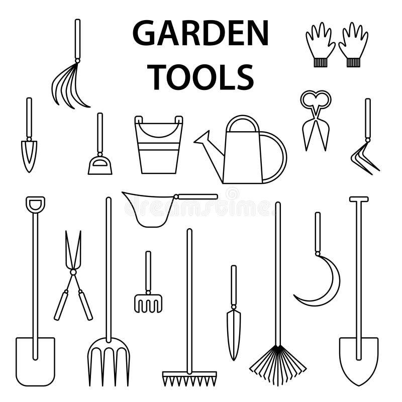 园艺工具 被隔绝的设计 : 生态象集合 Eco平的传染媒介象 与庭院的平的收藏 皇族释放例证
