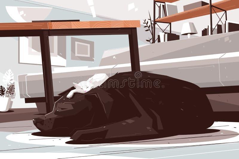 困作白日梦在客厅的狗和猫 向量例证