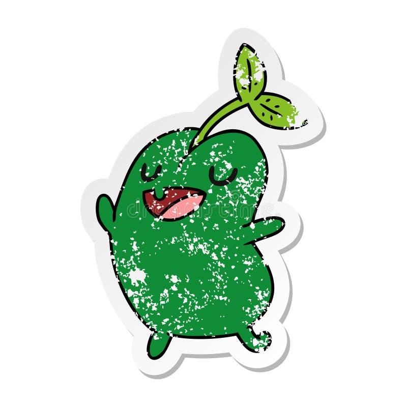 困厄的贴纸动画片kawaii逗人喜爱的发芽豆 向量例证