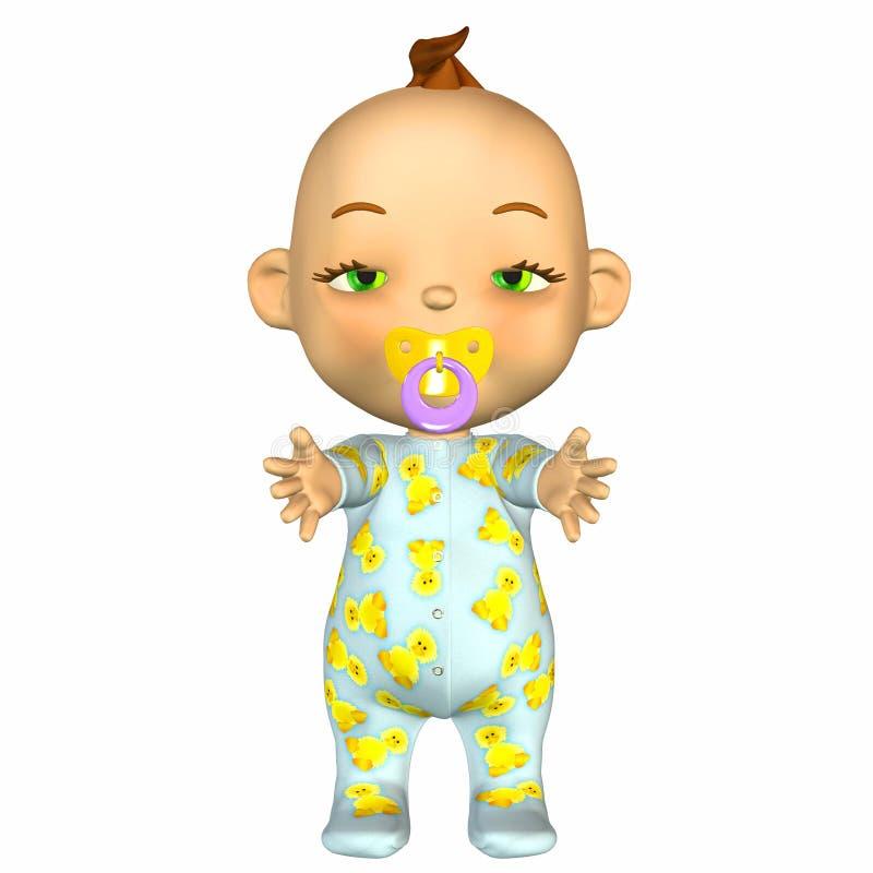困婴孩的动画片 库存例证
