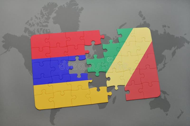 困惑与亚美尼亚和刚果共和国的国旗世界地图的 图库摄影