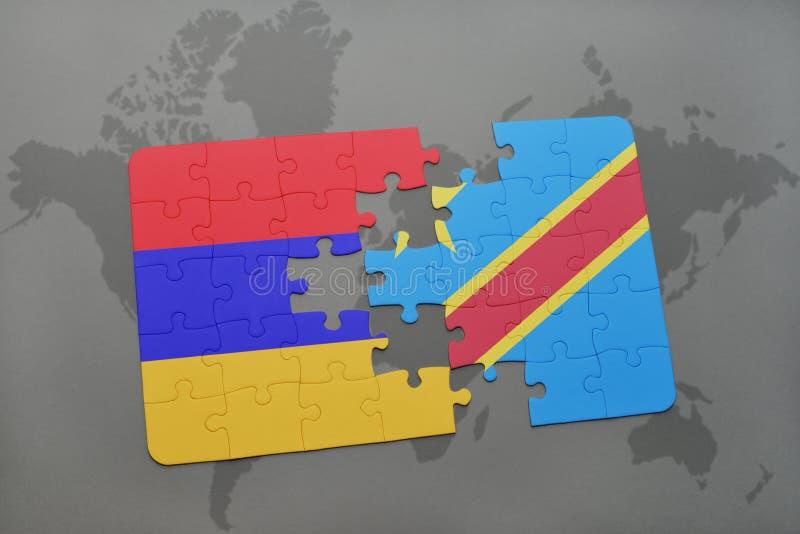 困惑与亚美尼亚和刚果民主共和国的国旗世界地图的 库存照片