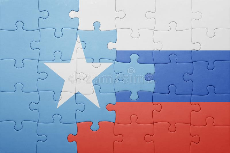 困惑与俄罗斯和索马里的国旗 免版税库存图片