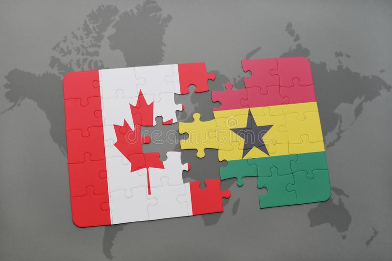困惑与加拿大和加纳的国旗世界地图背景的 向量例证