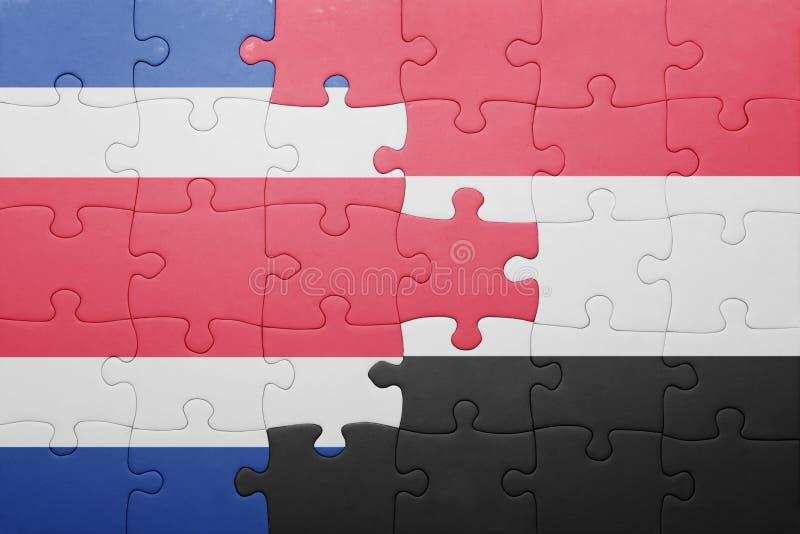 困惑与哥斯达黎加和也门的国旗 库存照片