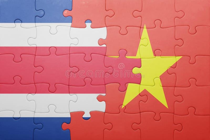 困惑与哥斯达黎加和越南的国旗 库存照片