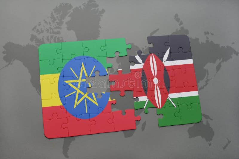 困惑与埃塞俄比亚和肯尼亚的国旗世界地图的 库存例证