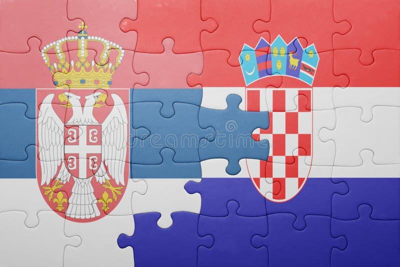 困惑与塞尔维亚和克罗地亚的国旗 图库摄影