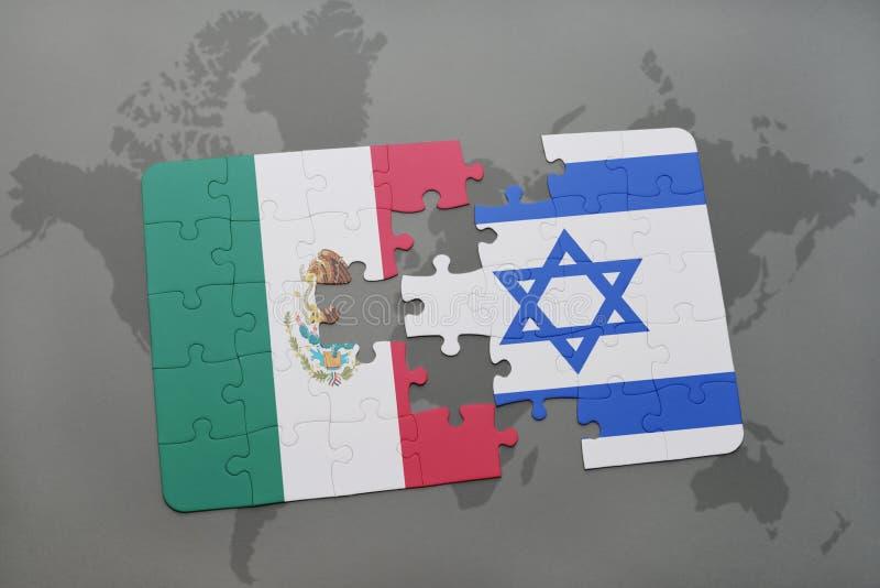 困惑与墨西哥和以色列的国旗世界地图背景的 库存例证
