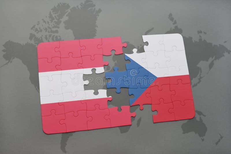 困惑与奥地利和捷克共和国国旗在世界地图背景 向量例证