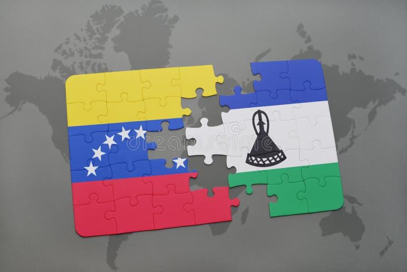 困惑与委内瑞拉和莱索托的国旗世界地图的 向量例证