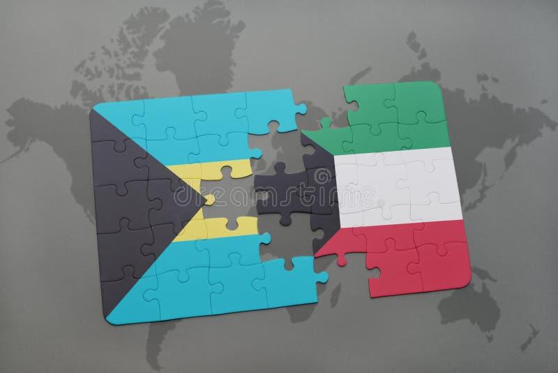 困惑与巴哈马和科威特的国旗世界地图的 库存例证