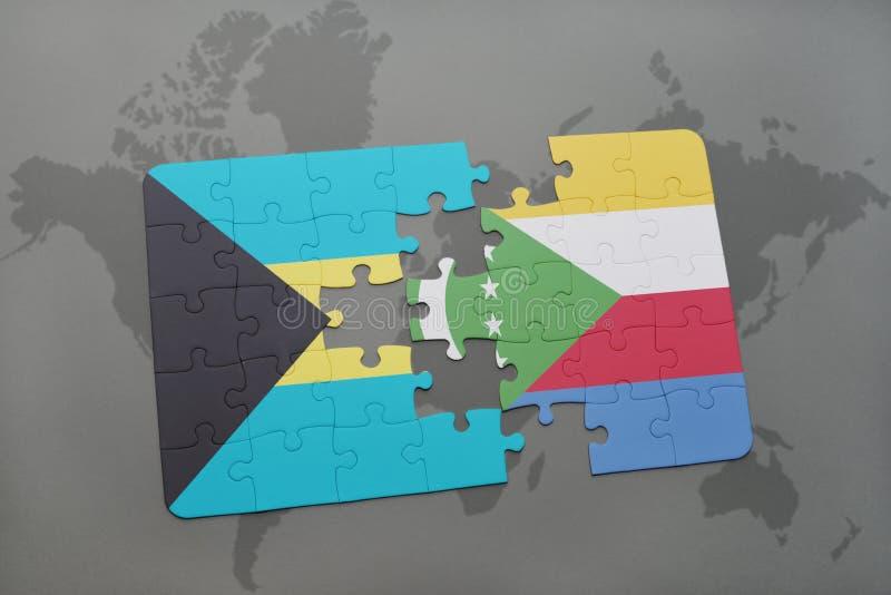 困惑与巴哈马和科摩罗的国旗世界地图的 向量例证
