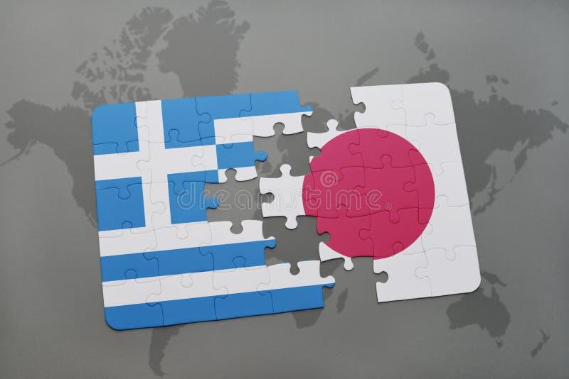 困惑与希腊和日本的国旗世界地图背景的 向量例证