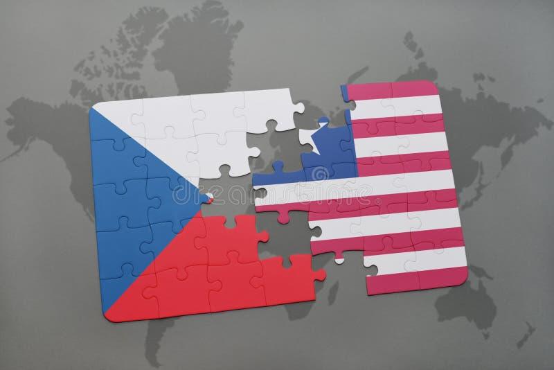困惑与捷克共和国和利比里亚的国旗世界地图的 向量例证