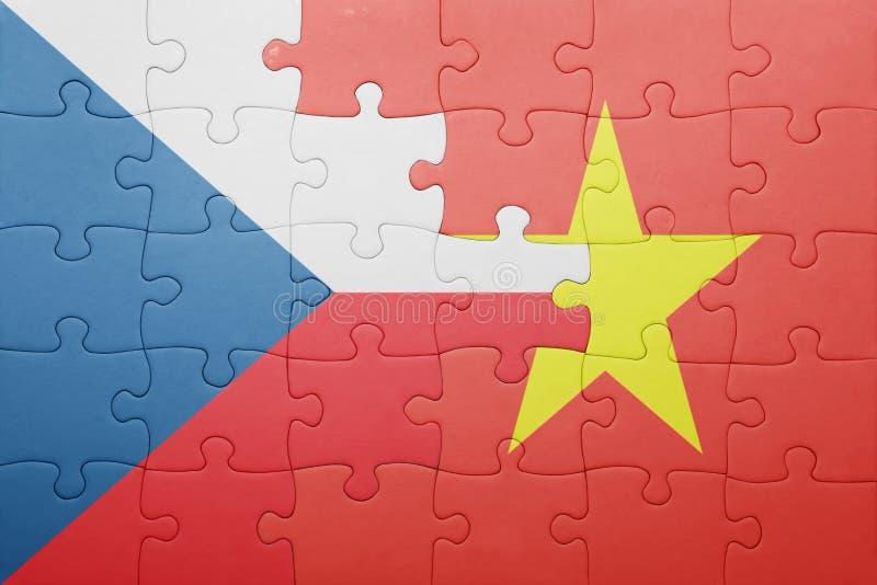 困惑与捷克共和国和越南的国旗 库存图片