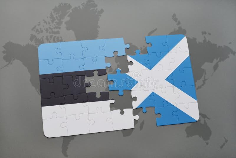 困惑与爱沙尼亚和苏格兰的国旗世界地图背景的 向量例证