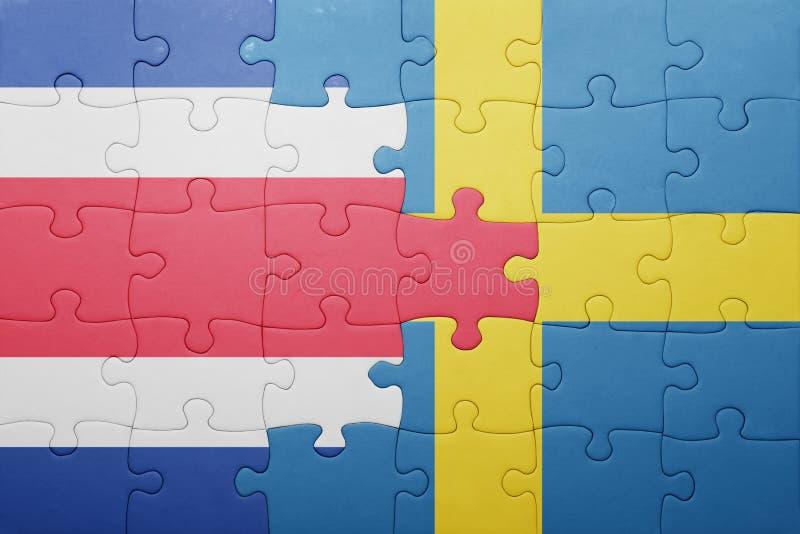 困惑与瑞典和哥斯达黎加的国旗 库存照片