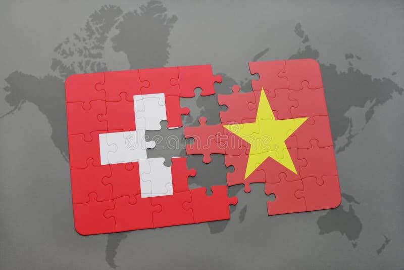 困惑与瑞士和越南的国旗世界地图背景的 库存例证