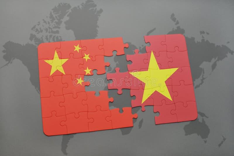 困惑与瓷和越南的国旗世界地图背景的 库存例证