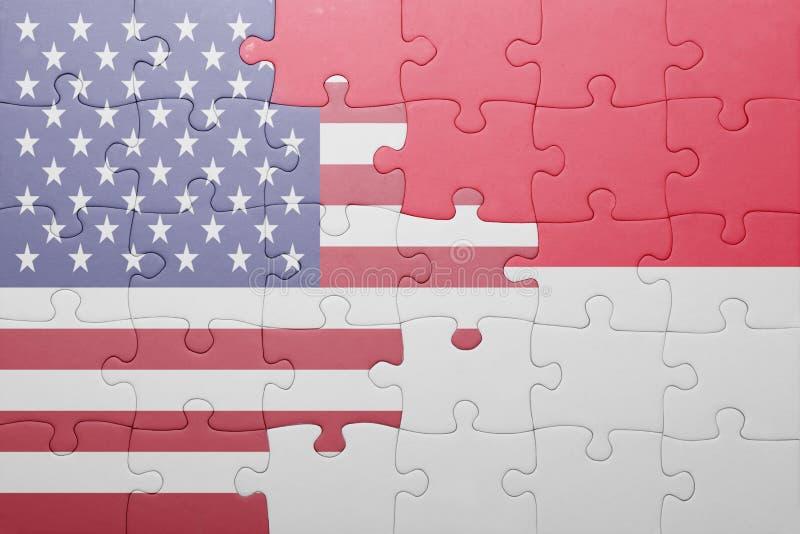 困惑与美国和印度尼西亚的国旗 免版税图库摄影