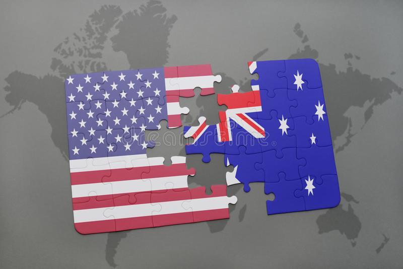 困惑与美国和澳大利亚的国旗世界地图背景的 免版税库存图片