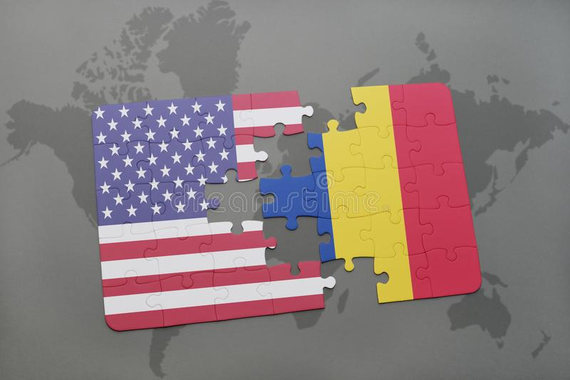 困惑与美国和罗马尼亚的国旗世界地图背景的 向量例证