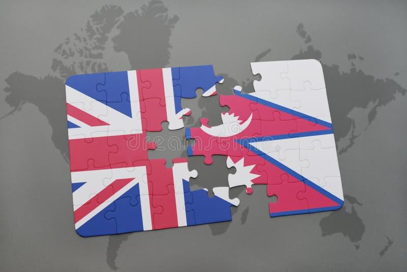 困惑与英国和尼泊尔的国旗世界地图背景的 向量例证