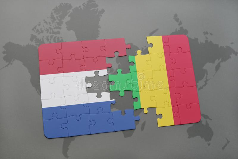 困惑与荷兰和马里的国旗世界地图背景的 库存例证